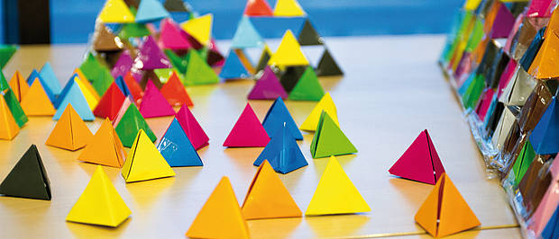 Pyramids made of colorful paper