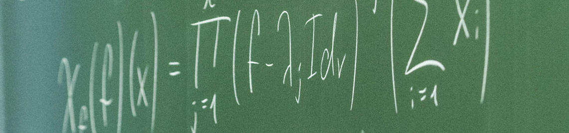 Mathematical formulas on a blackboard