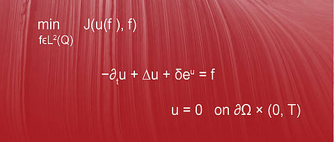 Mathematic formulas on red background