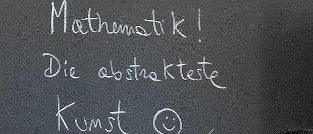 "Blackboard Labeling ""Mathematics! The most abstract art"""